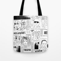 scandal Tote Bags featuring POP SCANDAL by Christopher Lee Sauvé