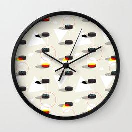 Pucks & Geometries #society6 #hockey #sport Wall Clock