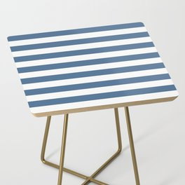 Blue and White Stripes Side Table