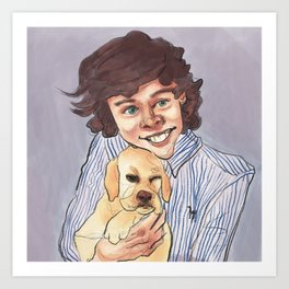 harry styles with puppy Art Print