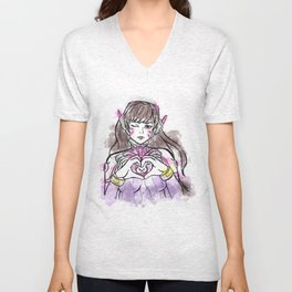 Watercolor D.Va Unisex V-Neck