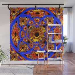 GOLD SUNFLOWERS & ROYAL BLUE PATTERN ART Wall Mural