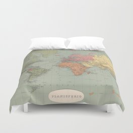 Vintage Map of The World (1889) Duvet Cover