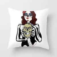 dia de los muertos Throw Pillows featuring Dia de los muertos by Paloma  Galzi