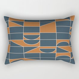 Classic Geometry Shapes in Navy and Tan Rectangular Pillow