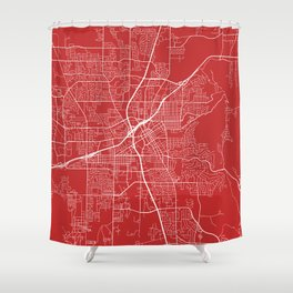 Huntsville Map, USA - Red Shower Curtain