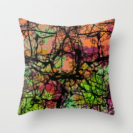 Cracks And Colour - Pastel orange, blue and green abstract with black marble effect Throw Pillow