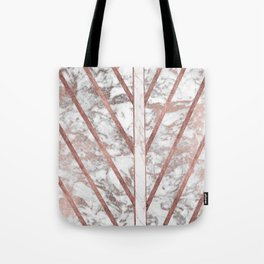 Modern faux rose gold white geometrical marble stripes Tote Bag