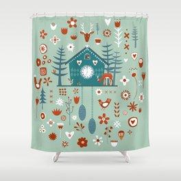 Cuckoo Clock Scandinavian Woodland Forest Shower Curtain