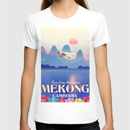 Mekong Cambodia vacation poster. T-shirt