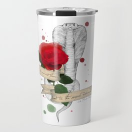 Shakespeare Quote (Flower and Serpent) Travel Mug