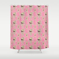 sticker Shower Curtains featuring sticker monster pattern 2 by freshinkstain