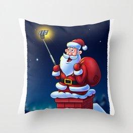 Cartoon Santa Claus with Selfie Stick - Digital Painting Throw Pillow