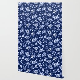 Hand painted navy blue white watercolor floral roses pattern Wallpaper
