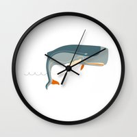 moby dick Wall Clocks featuring Moby Dick by Monsieur_P