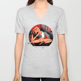 "Sneaker Badge-Yoga girl Cool Noodle: ""At least the sneakers aren't that tight."" Unisex V-Neck"