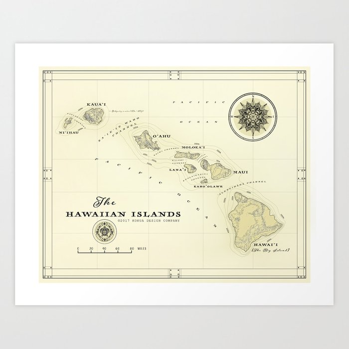picture about Printable Map of Hawaii named Hawaiian Islands [common impressed] map print Artwork Print by way of kokuadesigncompany