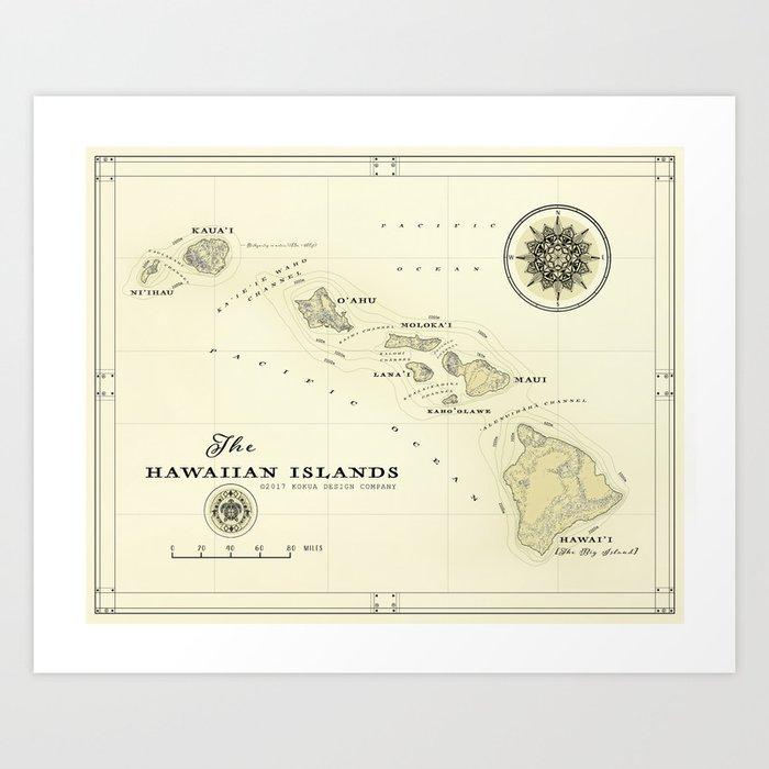 photo regarding Printable Maps of Hawaii known as Hawaiian Islands [common encouraged] map print Artwork Print via kokuadesigncompany