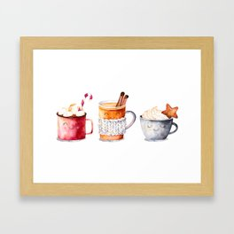 Cute warm drinks Framed Art Print