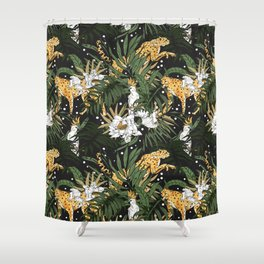Animals in the glamorous nocturnal jungle Shower Curtain