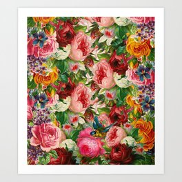 Colorful Floral Pattern | Je t'aime encore Art Print