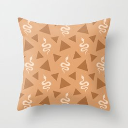 Crawling snakes silhouettes and abstract triangle shapes. Stylish classy whimsical artistic chocolate brown retro vintage geometric animal nature pattern. Reptiles. Geometry. Throw Pillow