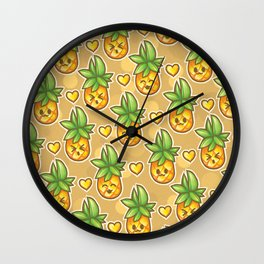 Pineapples on Repeat Wall Clock