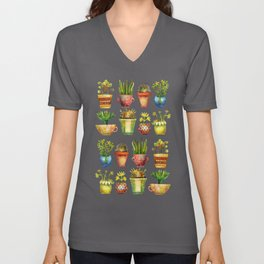 Succulents All in a Row Unisex V-Neck