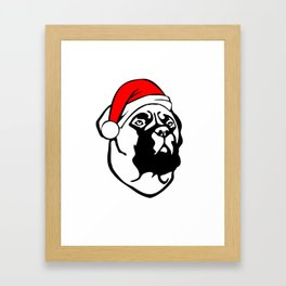 Bullmastiff Dog with Christmas Santa Hat Framed Art Print