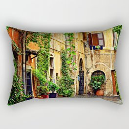 Vintage street in Rome, after Rain Rectangular Pillow