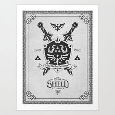 Legend of Zelda Hylian Shield Foundry logo Iconic Geek Line Artly Art Print