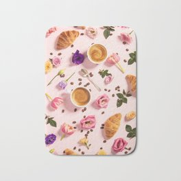 Morning coffee, croissants and a beautiful flowers Bath Mat