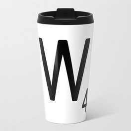 Letter W - Custom Scrabble Letter Tile Art - Scrabble W Initial Travel Mug