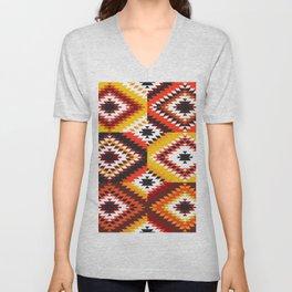 Colorful patchwork mosaic, oriental kilim rug Unisex V-Neck