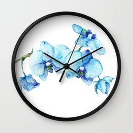Blue Orchids - Watercolor Botanical Art Wall Clock