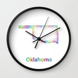 Rainbow Oklahoma map Wall Clock
