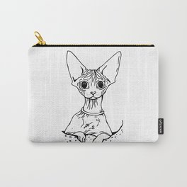 Big Eyed Pretty Wrinkly Kitty - Sphynx Cat Illustration - Nekkie - Cat Lover Gift Carry-All Pouch