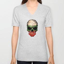 Dark Skull with Flag of Bulgaria Unisex V-Neck