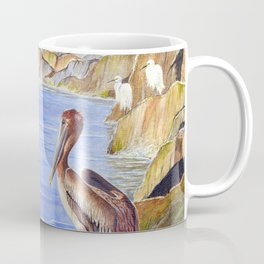 Pelican And Snowy Egrets On A Jetty Coffee Mug