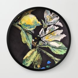 Branch with White Lemon Flowers and Yellow Fruit. Wall Clock
