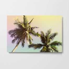 Yellow Blue Tropical Sky with Coco Palm Trees Metal Print