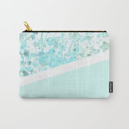 Aqua Splatter - Diagonal Carry-All Pouch