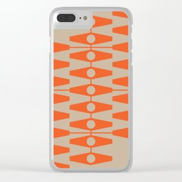 abstract eyes pattern orange tan Clear iPhone Case