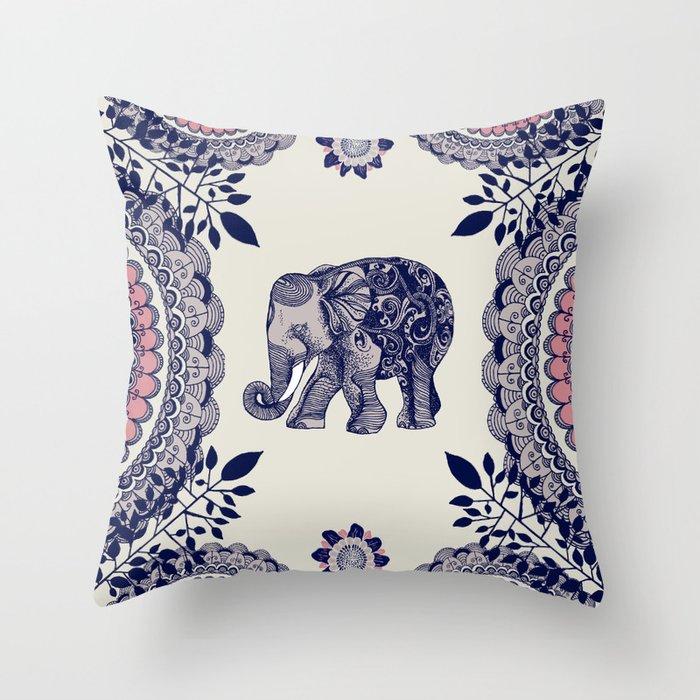 Elephant Pink Throw Pillow