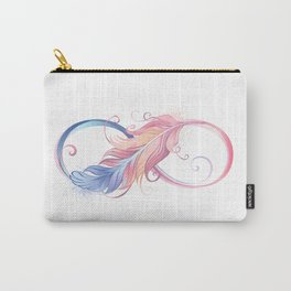 Infinity Symbol with Pink Feather Carry-All Pouch