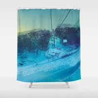 ski Shower Curtains featuring Ski Mountain by Doreen Marts