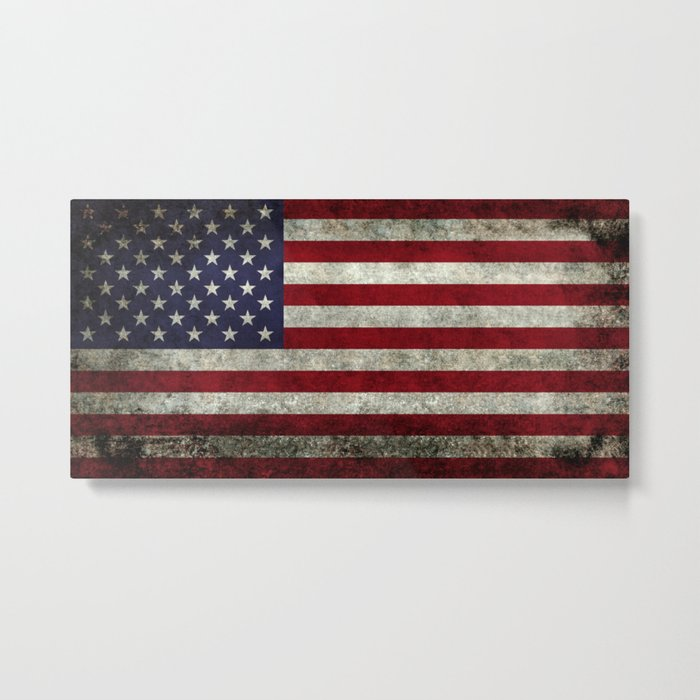 American Flag, Old Glory in dark worn grunge Metal Print
