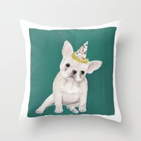 puppies Throw Pillows featuring Party puppies  by Jackie Diedam