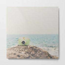 """the """"dreamer"""", a mint green camera with the ocean behind it Metal Print"""