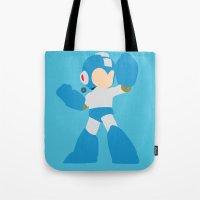 mega man Tote Bags featuring Mega Man(Smash)Blue by samaran